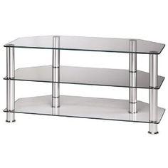 "Hama LCD-/Plasma-TV, 1000, three shelves, aluminum / clear glass top price ""TV stand"