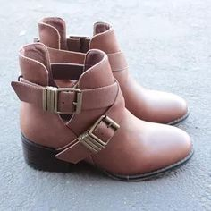 4a56fd84111 Cute Double Buckled Cut Out Ankle Boot With Stacked Heels