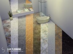 Luxury floors for kitchens, bathrooms and any other room where you need that extra shine. Comes in nine swatches with interesting patterns and striking colors. Found in TSR Category 'Sims 4 Floors' The Sims 4 Pc, Sims Four, Sims Cc, Bathroom Accessories Luxury, Bathroom Design Luxury, Sims 4 Game Mods, Sims 4 Mods, Modern Bathrooms Interior, Modern Bedrooms