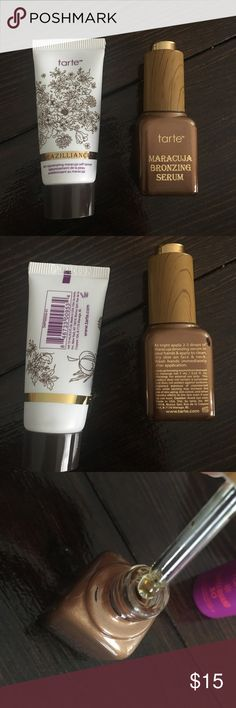 Tarts Minis- Self Tanner oil and lotion Never used. Brazilliance 0.5 floz. And Maracuja Bronzing Serum 0.23 floz. Came in a set and I won't use these. tarte Makeup