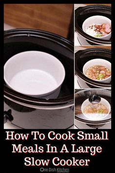 Cooking for one or two? We'll show you how to cook small meals in a large slow cooker by using an oven safe bowl. Plus, we're sharing several single serving slow cooker and Cro. Slow Cooking, Cooking For One, Batch Cooking, Cooking Tips, Cooking Lamb, Thai Cooking, Cooking Classes, Cooking Fennel, Cooking Couscous