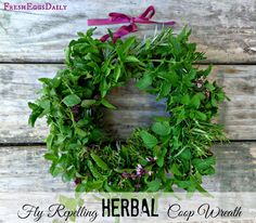 Fly Repelling Fresh Herb Wreath for your Chicken Coop