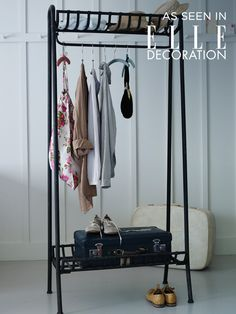 Strong, sturdy and the ultimate industrial style, our weighty cold-rolled steel clothes rail looks just like wrought iron with a distressed finish. A great way to display your favourite clothes, each rail includes a handy shelf both above and below, and can be used in place of a wardrobe in your bedroom, or as a coat rail in the hallway. As seen in Elle Decoration.