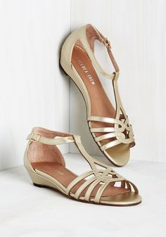 Wanna Prance with Somebody Sandal in Gold by Chelsea Crew - Gold, Solid, Cutout, Wedding, Party, Holiday Party, Beach/Resort, Homecoming, Luxe, Better, T-Strap, Low, Variation