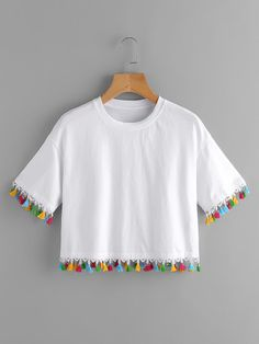 SheIn offers Colorful Tassel Trim Crop Tee & more to fit your fashionable needs. Girls Fashion Clothes, Teen Fashion Outfits, Fashion Wear, Outfits For Teens, Girl Outfits, Tween Fashion, Girl Fashion, Crop Top Outfits, Cute Casual Outfits