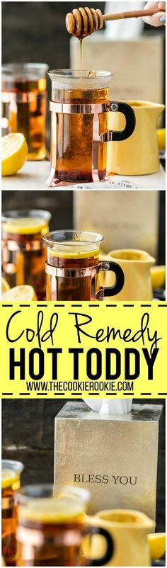 The best way to get better is with a COLD REMEDY HOT TODDY! Our family swears by this for getting over head colds. Plus it's delicious and must tastier than cough syrup!