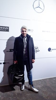 Our chief designer himself Wladimir Arutti wearing the Tokio Travel Bag at the Mercedes-Benz Fashion Week Berlin a/w 2017.