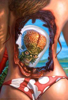 "pixelated-nightmares: "" Mars Attacks: Beach Blast by Eric Wilkerson Sci Fi Horror, Arte Horror, Horror Art, Horror Drawing, Creepy Horror, Horror Movies, Mars Attacks, Arte Sci Fi, Sci Fi Art"