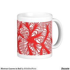 Abstract Leaves in Red Classic White Coffee Mug - $18.95 - Abstract Leaves in Red Classic White Coffee Mug - by #RGebbiePhoto @ zazzle - #red #abstract #lines - Grid lines blend together in pinch points to create a beautiful abstract background.