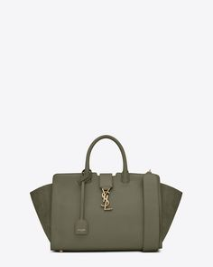 ec7e171ccad small downtown cabas bag in military khaki leather and suede