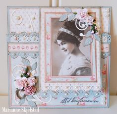 A card using the Pion Design Palette and Paris Flea Market collections. Vintage image from Grandma's Attic ~ tinted Heritage Scrapbook Pages, Vintage Scrapbook, Scrapbook Cards, Paper Cards, Folded Cards, Vintage Cards, Vintage Paper, Joy Fold Card, Shabby Chic Cards
