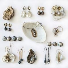 Different pieces from my jewelry collection of earrings, rings and necklaces with a variety of pearls. #Juliecohndesign