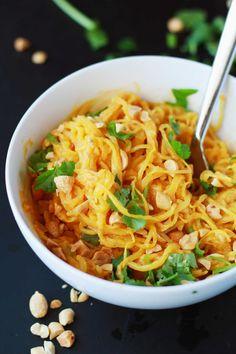 Spaghetti Squash Peanut Noodles - Cut the spaghetti squash a particular way to get the longest noodles, then top with sweet potato peanut sauce! Vegan/GF/WFPB
