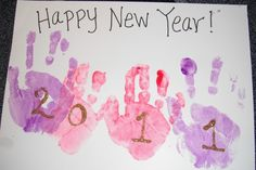 New Year's crafts for kids, Handprint Art Projects for kids! Daycare Crafts, Classroom Crafts, Baby Crafts, Infant Crafts, New Year's Eve Crafts, Crafts To Do, Holiday Crafts, January Art, January Crafts
