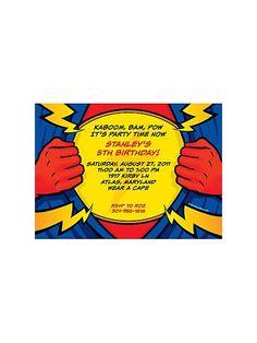 Superhero Party Personalized Invitation (each) - Custom Invitations & Party Supplies