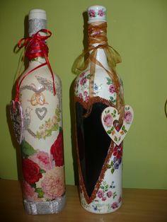 butelki z alkoholem decoupage