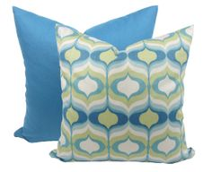Etsy on pillows. BLUE & GREEN. Decorator Pillow Covers, Set of 2, Solid Blue and Hourglass Print, Toss Pillow, Throw Pillow, Cushion Cover, Hidden Zipper, 16 x 16 inches
