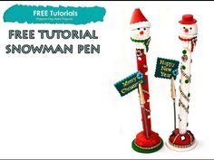 PolyPediaOnlineTV - How to Snowman Polymer Clay Christmas Pen Tutorial by Iris Mishly - YouTube