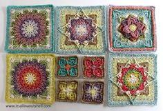 Video tutorial Demelza – flower square – It's all in a Nutshell Crochet Crochet Blocks, Granny Square Crochet Pattern, Crochet Squares, Crochet Granny, Crochet Blanket Patterns, Crochet Motif, Crochet Blankets, Granny Squares, Crocheted Afghans