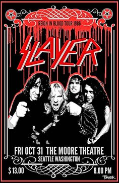 "Slayer Concert Tour 1986 Poster ""Reign of Terror"" Rock Bands, Rock And Roll Bands, Tour Posters, Band Posters, Music Posters, Woodstock, Hard Rock, Reign In Blood, Vintage Concert Posters"