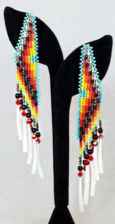 Chavez flame colors bead/dentalium shell dangle earrings by Kewa-Creek-Seminole LeJeune Chavez Beaded Earrings Patterns, Bead Earrings, Beading Patterns, Native American Earrings, Native American Beadwork, Seed Bead Jewelry, Beaded Jewelry, Native American Patterns, Native Beadwork