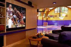 Indoor Basketball Court TV Area NO WAY!:) i totally want this in my house! Home Basketball Court, Basketball Room, Basketball Games, Backyard Basketball, Sports Court, Basketball Scoreboard, Basketball Birthday, Basketball Leagues, Basketball Legends
