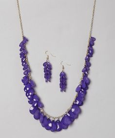 Take a look at this Purple & Gold Necklace & Earrings by Gabrielle Jewelry on #zulily today!