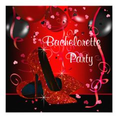 Red High Heel Shoes Red Bachelorette Party Custom Announcements