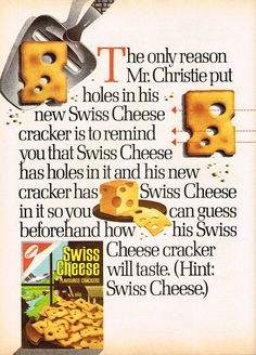 #Swiss #cheese #crackers #appetizers #party #retro #food #vintage #ad #1970s