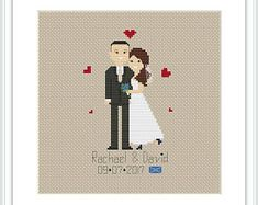 New family PDF Cross Stitch Pattern Wedding Family Portrait