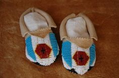 Beaded baby moccasins, Sioux pattern, deer hide.  #beadwork #NativeAmerican  $50.00