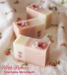 A romantic light pink soap