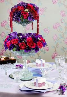 """Lovely Centerpiece for a """"Red Hat"""" Tea"""