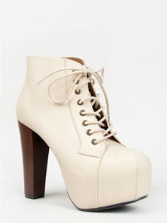 Speed Limit 98 ROSA Chunky Heel Lace Up Bootie - http://www.zooshoo.com/product_p/rosaoffwhitepu.htm