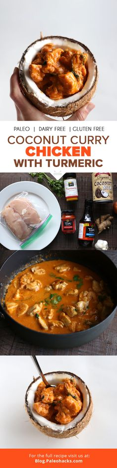 Enjoy this delicious coconut curry with turmeric recipe inside of a coconut! It's a fun way to eat this powerful punch of savory flavors. Indian Food Recipes, Paleo Recipes, Cooking Recipes, Curry Recipes, Delicious Recipes, Easy Recipes, Coconut Curry Chicken, Chicken Curry, Turmeric Recipes