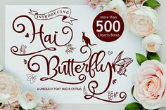 Hai Butterfly duo is a match made in heaven, the playfulness of the script perfectly complements the dingbat's style. Cool Fonts, New Fonts, Awesome Fonts, Font Squirrel, Cricut Fonts, Beautiful Fonts, Made In Heaven, Handwritten Fonts, Match Making