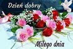 Dla każdego: DZIEŃ DOBRY Good Morning, Floral Wreath, Wreaths, Table Decorations, Rose, Flowers, Plants, Ha Ha, Home Decor