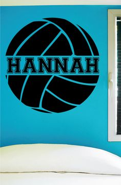 """Custom Volleyball Wall Decal - 0058 -- PRODUCT NO. 0058 -- -- When checking out, please type the name you want for your decal in the """"Phone optional"""" tab when you fill out your contact information. I"""