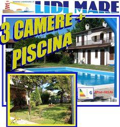 Villa Piano Terra con TRE Camere Letto e PISCINA in Centro Lido delle Nazioni, Comacchio, a 350Mt. dal MARE.