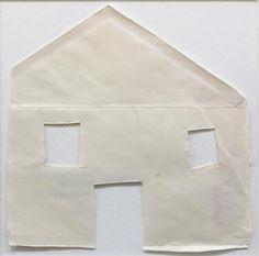 Felix Droese: Haus 1980 Papierschnitt aus Teil eines aufgetrenntem Briefumschlages, 19 x 19 cm