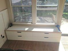 Window Storage Bench, Window Benches, Bedroom Storage, Window Seats, Bedroom Nook, Bedroom Ideas, Small Bedroom Furniture, Ikea Furniture, Ikea Makeover
