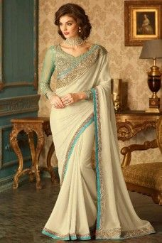Cream and Blue Heavy Designer Party Wear Stylish Georgette Saree  #cream #blue #designer #partywear #georgette #gebastore #tfh #indian