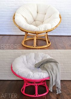 Energy Efficient Home Upgrades in Los Angeles For $0 Down -- Home Improvement Hub -- Via - Before + after: hot pink papasan chair