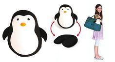 Penguin travel pillow plush microbead fill by Kikkerland convertible travel pillow