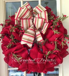 burlap ribbon christmas wreath | Red Burlap Christmas Wreath with Striped Ribbon and Twigs and Berries