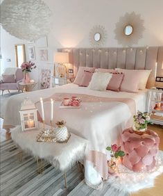 Cute Bedroom Decor, Bedroom Setup, Cute Bedroom Ideas, Room Design Bedroom, Girl Bedroom Designs, Stylish Bedroom, Room Ideas Bedroom, Shabby Bedroom, Romantic Bedrooms