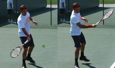 A top spin tennis forehand with all joints in the arm