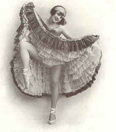 A 1920s can-can dancer (love that she's wearing ballet shoes). #vintage #can-can #dancers #performers #dancing #flapper #1920s