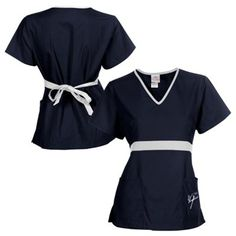 New York Yankees Womens MLB Solid Wrap Scrub Top With Pockets - Navy Blue/White