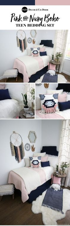 We are swooning over this boho vibe dorm bedding. Our best selling blush pink qu. We are swooning over this boho vibe dorm bedding. Our best selling blush pink quilt pairs with solid navy, ivory linen a. Dorm Room Headboards, Dorm Bedding Sets, Teen Bedding, Pink Bedding, Luxury Bedding, Boho Bedding, Preppy Dorm Room, Boho Dorm Room, Teen Room Makeover
